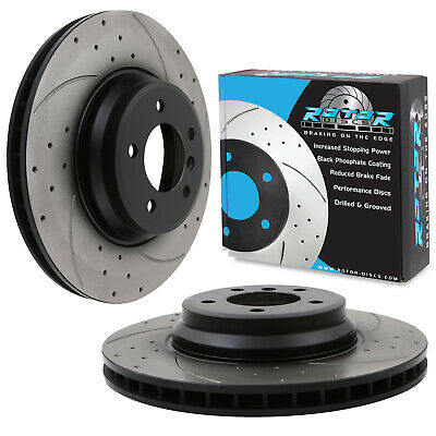 FRONT DRILLED GROOVED 348mm BRAKE DISCS FOR BMW 3 SERIES E92 E93 335i 335d 330i