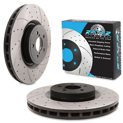 FRONT DRILLED GROOVED 326mm BRAKE DISCS PAIR FOR SUBARU IMPREZA NEWAGE STI 05-07