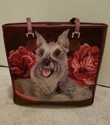 Isabella Fiore Handbag - Adorable Schnauzer Dog with Roses **BEAUTIFUL*