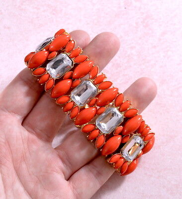Vintage style chunky glamorous stretch bracelet with red & clear stones