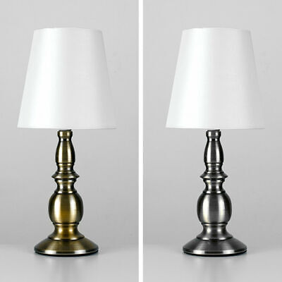 Pair Of Touch Table Traditional Lamps Brushed Chrome / Antique Brass LED Lights