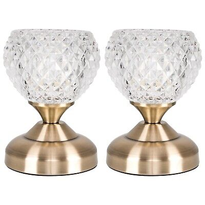 Pair of Vintage Style Antique Brass  Glass Touch Bedside Table Lamp Light Lamps