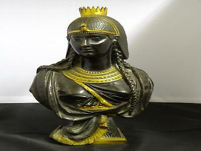 Antique Bronze & Gilt-Bronze Bust Of Cleopatra, French, C. 2nd Half 19th Century