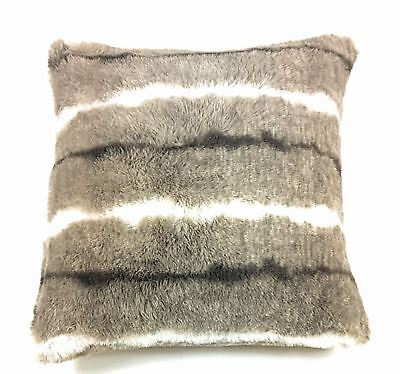 """Luxury Beige White Faux Fur Suede Supersoft Cushion Cover 17"""" - 43Cm"""