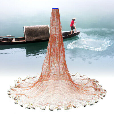 7.2m American Style Cast Net Saltwater Baitcasting Strong Nylon Line With Sinker