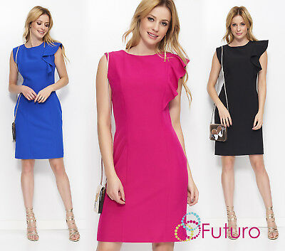 Womens Sleeveless Midi Dress With Slit And Frill On The Shoulder Boat Neck FA600
