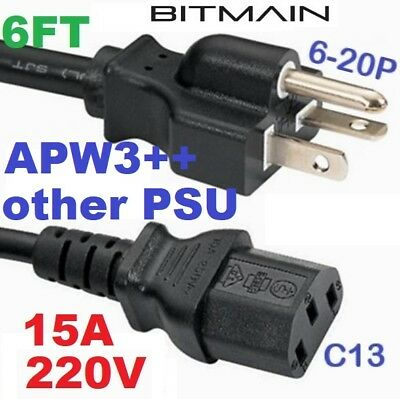 220V 15A 6FT 14 AWG HEAVY DUTY Power Cord 6-20P to C13 Perfect for BITMAIN S9 L3