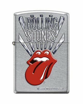 "Zippo ""Rolling Stones Logo"" Lighter, Street Chrome Finish, 8631"