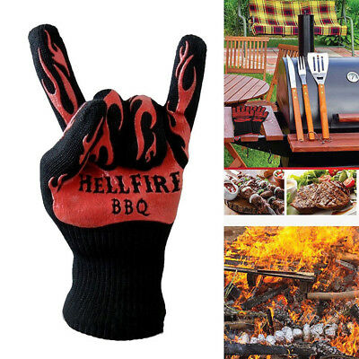 KQ_ Heat Resistant Silicone Barbecue BBQ Grilling Oven Kitchen Cooking Gloves Ey
