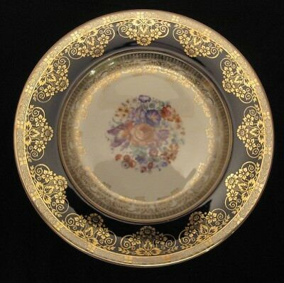 Crown Ducal Ware England  Plate-Hand Painted Rose Cobalt Blue Antique