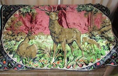 Large Vintage Plush Velvet Tapestry STAG WITH DEER Wall Hanging 75 x 49