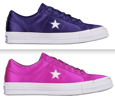 NEW CONVERSE ONE STAR OX SATIN SNEAKERS WOMENS SHOES ALL SIZES PURPLE or MAGENTA