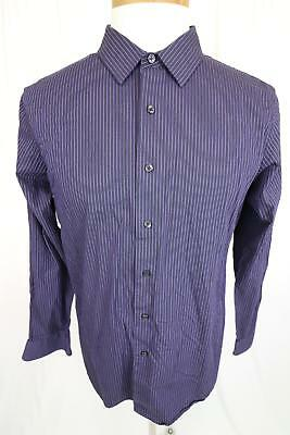 New Apt  9 Slim Fit Mens Purple Striped Dress Shirt Size L - CO5
