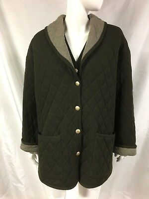 Women's ESCADA 2 PC Green Wool Knit Quilted Coat/Jacket~Mixed Sizes 42 & 38