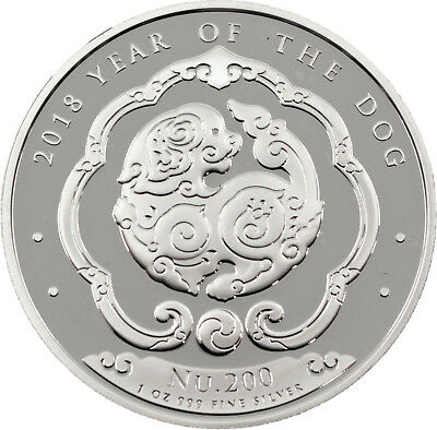 200 Ngultrum Lunar Year of the Dog - Jahr des Hund Bhutan 1 oz Silber 2018