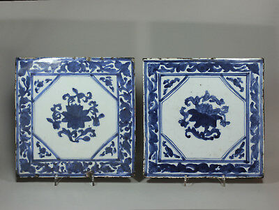 Antique Pair of Chinese blue and white tiles, 18th century