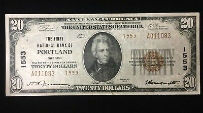 Series of 1929 $20 National Currency Portland Note.