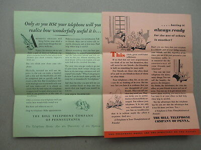 Bell Telephone Company of Pennsylvania, lot of 2 Promotional Brochures 1930's