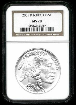 2001-D Buffalo SILVER Dollar - NGC MS 70 - MOST POPULAR MODERN COMM - NO RESERVE