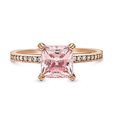 BERRICLE Rose Gold Plated Solitaire Engagement Ring Made with Swarovski Zirconia