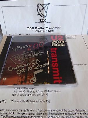 U2 Transmit, Hyper Rare Cue Sheet for Promo Only CD (CD not Included)