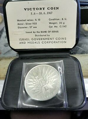 1967 Israel Silver 10 Lirot Victory Uncirculated Coin In Presentation Holder
