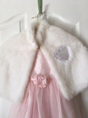 Flower Girl/Bridal/Easter white Faux Fur Shawl SEQUIN HEART SIZE 3 4 5 6
