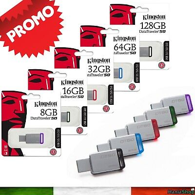 Penna Chiavetta Kingston Dt50 Usb 3.0 8Gb 32Gb 64Gb 128Gb Chiave Flash Pendrive