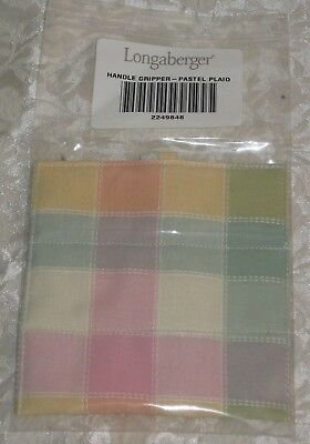 Longaberger Pastel Plaid Basket Fabric Handle Gripper Nib Usa Pink Green Yellow