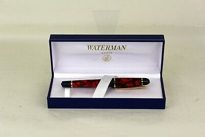 Waterman Phileas Ballpoint Pen With Case - Red/Black Marble Gold Trim
