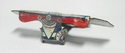 """1-3/4"""" X 1-1/2"""" Tin Cracker Jack Airplane--Some Wear, But Very Nice--Ships Free!"""