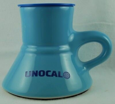 Vintage Blue UNOCAL 76 TRAVEL MUG Funnel shape with Lid and Foam Anti-Slip Base