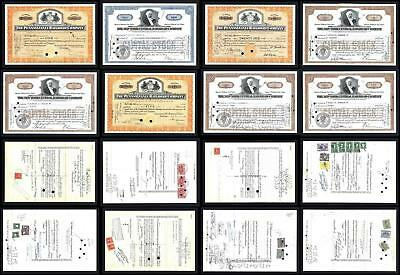 8 Stock Certificates with revenues issued between 1930 and 1950 - Lot # 604
