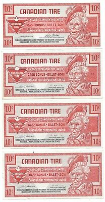 Canadian Tire Money - Lot of 4 - 10 Cent Notes - CT28