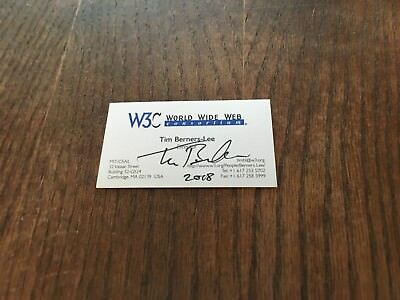 Inventor Of The World Wide Web Tim Berners Lee Signed Business Card! Authentic