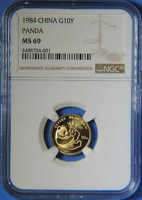 1984 China 1/10 oz .999 Gold Panda 10 Yuan Coin NGC Graded MS69