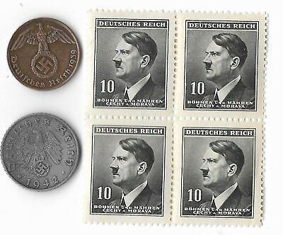 Rare Very Old WWII Nazi Germany Coin Hitler Stamp German Unique Collection Lot