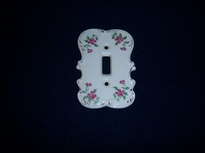 Vintage Porcelain Ceramic Light Switch Plate Cover Purple Flowers Made in Japan