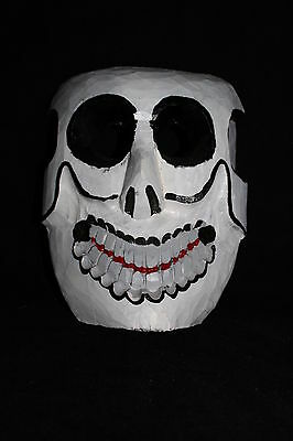 196 WHITE DEATH MEXICAN WOODEN MASK skull muerte blanca hand carved and painted