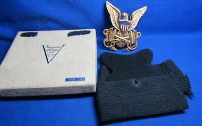 WWII Sterling ATS Army Transport Service Officer Badge & Wool Hat Band In Box