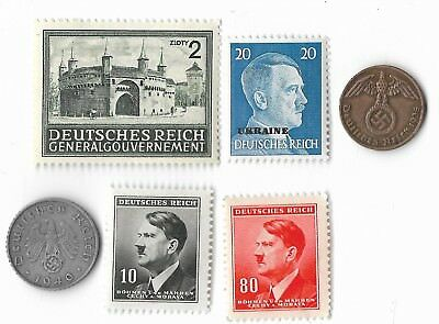 Old Rare WWII WW2 Nazi Germany Swastika Coin Stamp Collection German WW2 War Lot