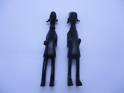 Pair Of Vtg African Wood Figures Sculptures