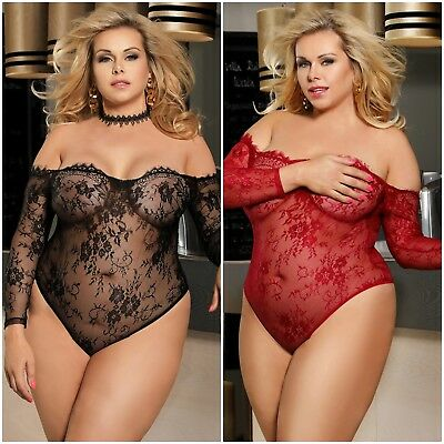 Plus Size Black Ruby Red Eyelash Lace Long Sleeve Bodysuit Teddy Lingerie m-5xl
