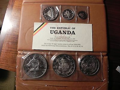Bank of Uganda 1969 SILVER 6 COIN Proof Set Mintage 6,070