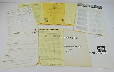 Lot of Vintage Boy Scout Papers Ephemera Pack Kit Charter 1960s 1970s Original