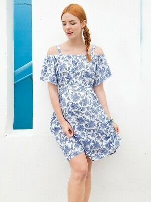 New JoJo Maman Bebe Maternity Floral Blue White Off-the-Shoulder Dress Small 4 6