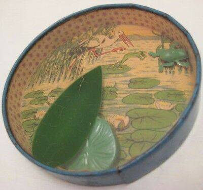Antique Tin & Glass Toy Dexterity Puzzle Hide Frog Under Lily Pad Germany 1940s