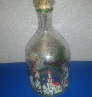 Antique Hand Blown & Painted Clear Glass English Decanter