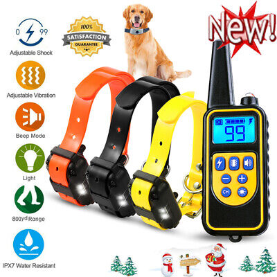 Dog Shock Training Collar Rechargeable Control Waterproof IP67 875 Yards+Gift