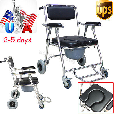USA FAST Drive Aluminum Commode Mobile Chair brakes Wheelchair Footrests Toilet